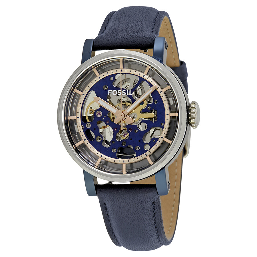 fossil male fossil original boyfriend automatic skeleton dial mens watch me3136
