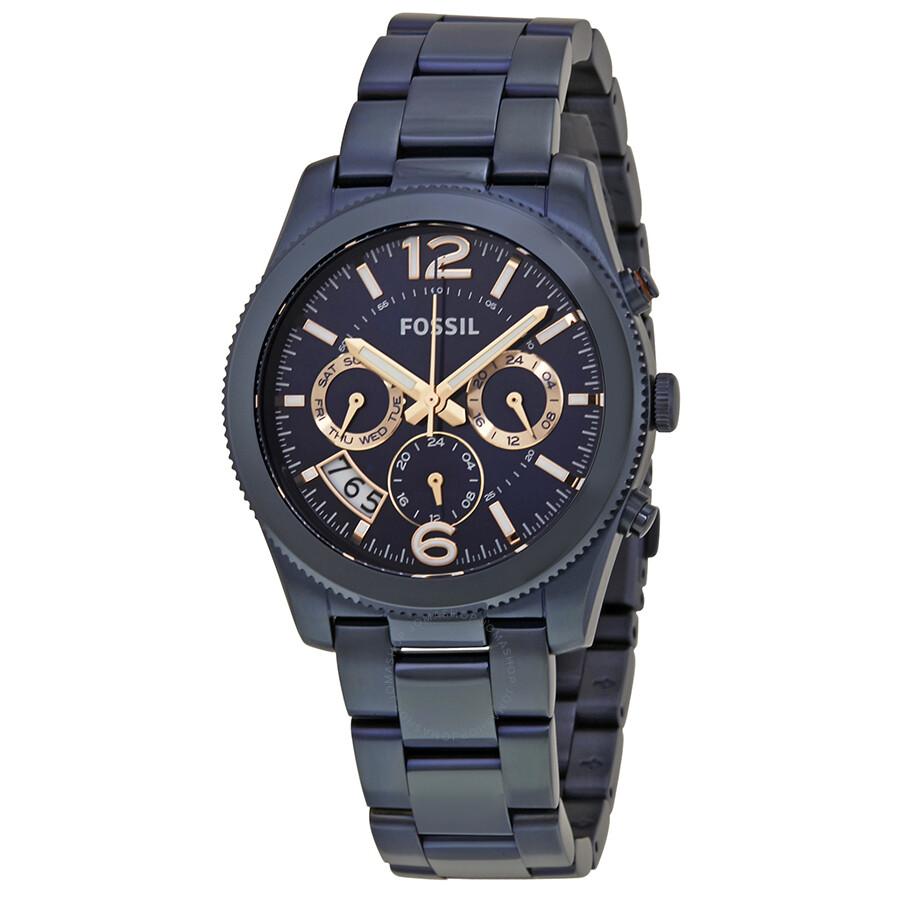 Fossil Perfect Boyfriend Navy Blue Dial Ladies Watch ES4093