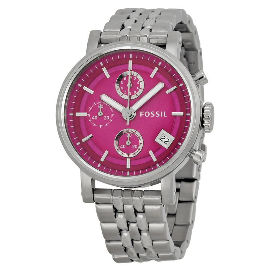 Fossil Riley Multi Function Pink Dial Stainless Steel Ladies Watch ES3572