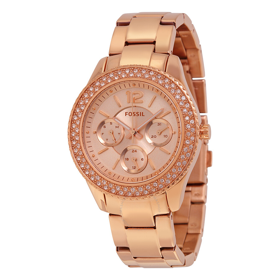 fossil stella rose dial rose goldtone stainless steel