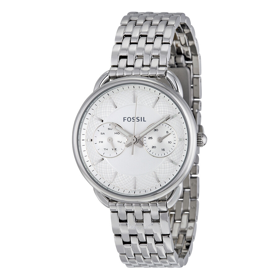 Fossil Platinum Watch Bq1444 Silver Tailor Multi Function White Dial Stainless Steel Ladies 900x900