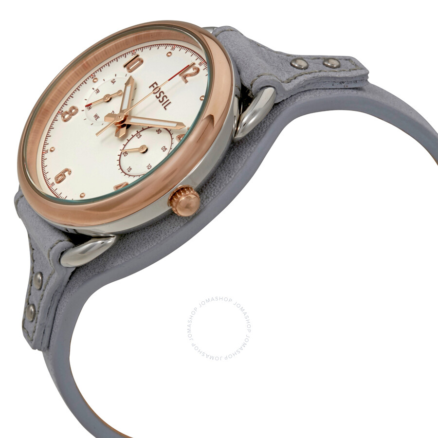 Fossil Tailor Multifunction Iron Leather Womens Watch Es 4048 Es3954 Light Brown White Dial Strap Ladies Es4048