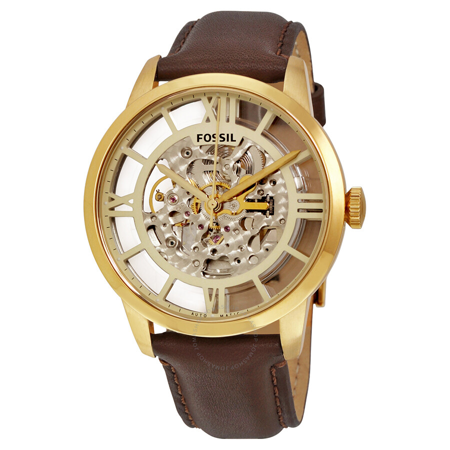l watches sewor mechanical watch leather product movement brown skeleton transparent mens