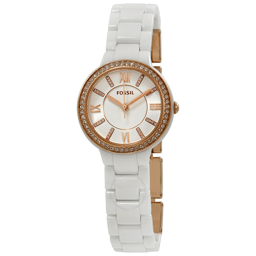 Fossil Virginia Crystal White Dial Ladies Watch CE1082