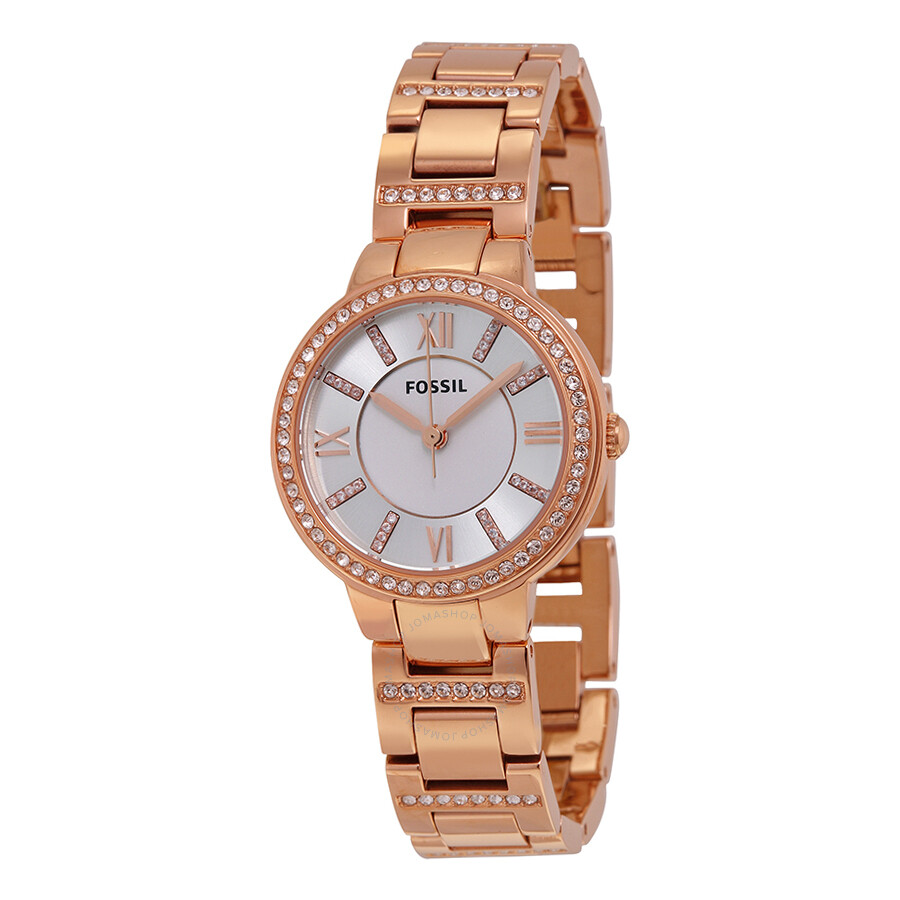 Fossil virginia silver dial rose gold tone ladies watch es3284 virginia fossil watches for Fossil watches