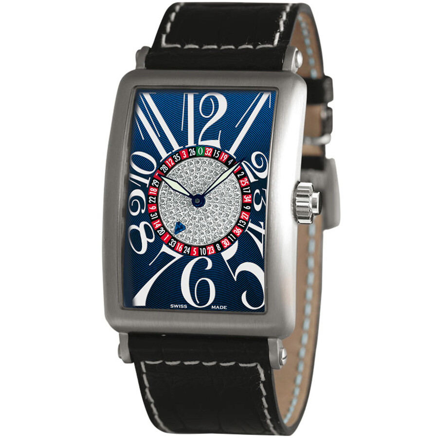 Franck Muller Long Island Vegas Blue Dial Diamond Automatic Mens Watch 1250-..