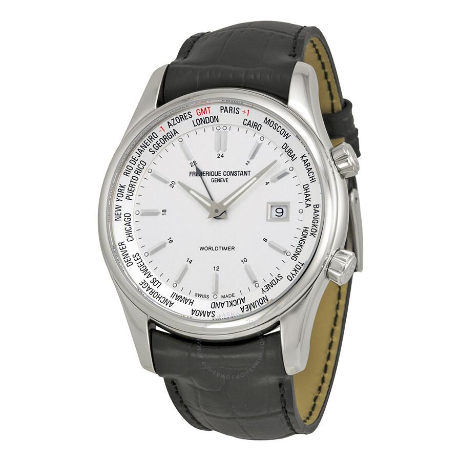 Frederique Constant Index Worldtimer Silver Dial Black ...