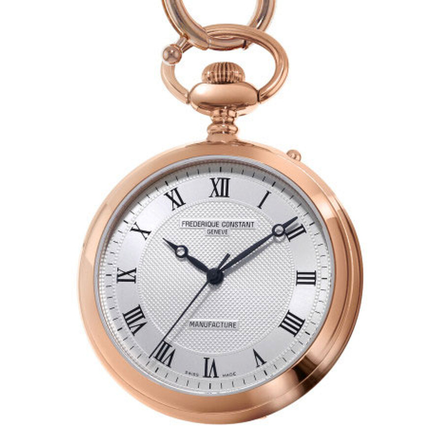Frederique Constant Manufacture Silver Dial Rose Gold Stainless Steel Pocket Watch FC-700MC6PW4