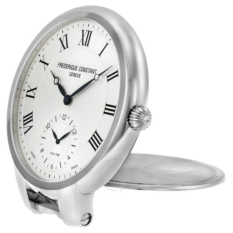 Frederique Constant Silver Dial Stainless Steel Desk Clock Fc 208mc7tc6