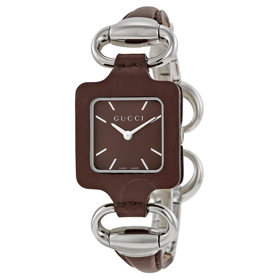 Open Box - Gucci 1921 Brown Dial Brown Leather Ladies Watch YA130403