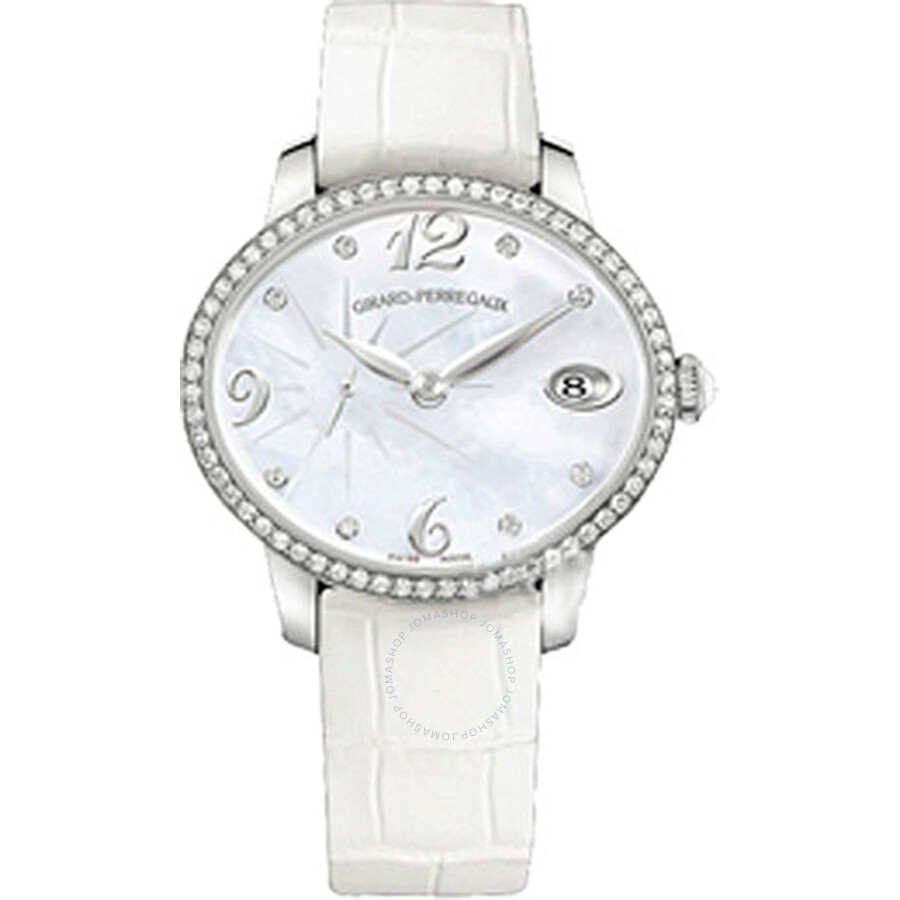 Girard Perregaux Cats Eye Mother of Pearl Dial 18kt White Gold Leather Ladies Watch 80484D53A761-BK7