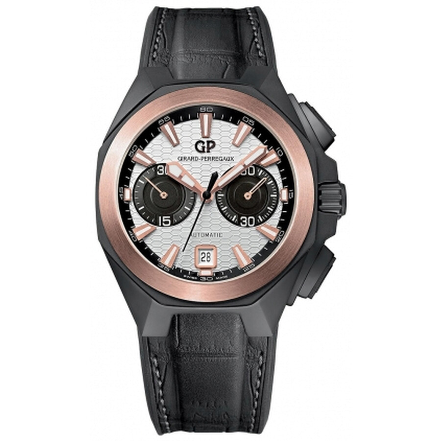 Girard Perregaux Chrono Hawk Silver Dial Black Crocodile Leather Mens Watch 49970-34-132-BB6A