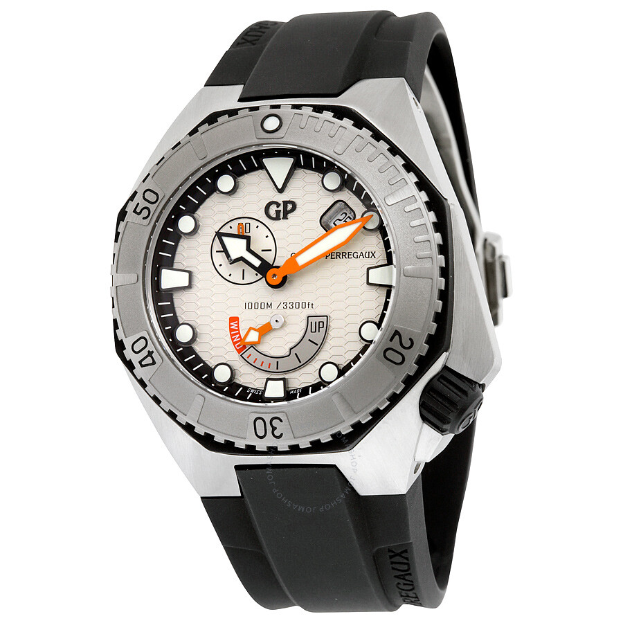 Girard Perregaux Sea Hawk Automatic Silver Dial Black Rubber Mens Watch 49960-11-131-FK6A