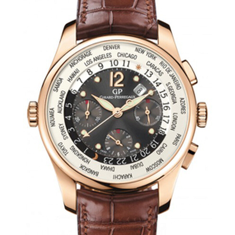 Girard Perregaux WW. TC Financial Grey Dial 18kt Pink Gold Leather Mens Watch 49815-52-251-BACA