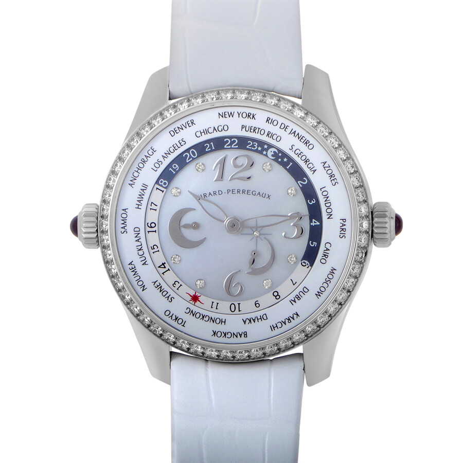 Girard Perregaux WW. TC Mother of Pearl Dial Diamond Automatic Ladies Watch 49860D-11A761-BK7A