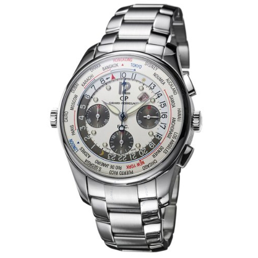 Girard Perregaux WW. TC Silver Dial Stainless Steel Automatic Mens Watch 49805-11-152-11A