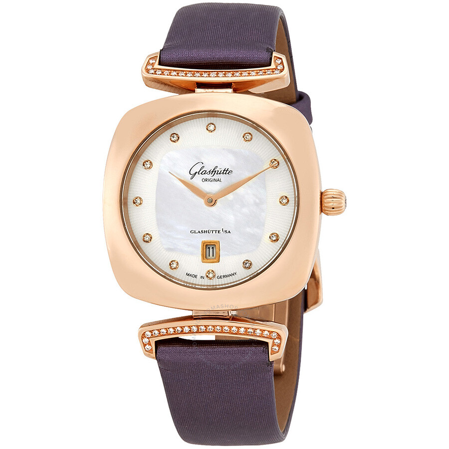Glashutte Pavonina White Mother of Pearl Diamond Dial Ladies Watch 1-03-01-0..