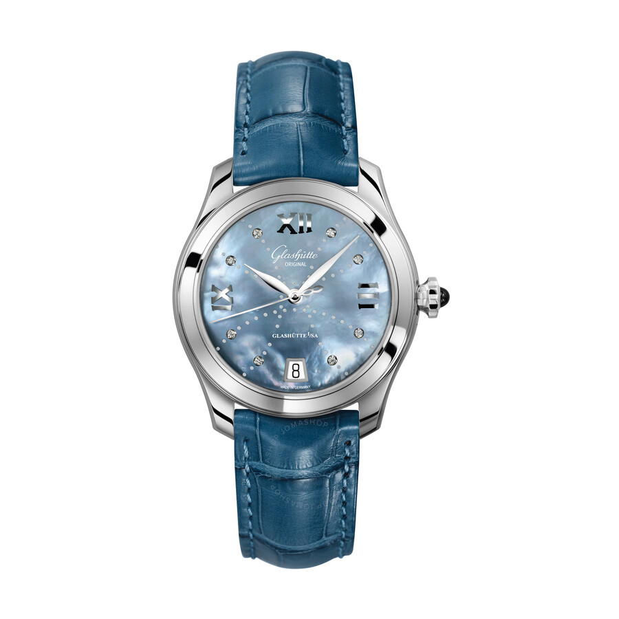 Glashutte Serenade Blue Mother Of Pearl Dial Ladies Watch 39-22-11-02-04