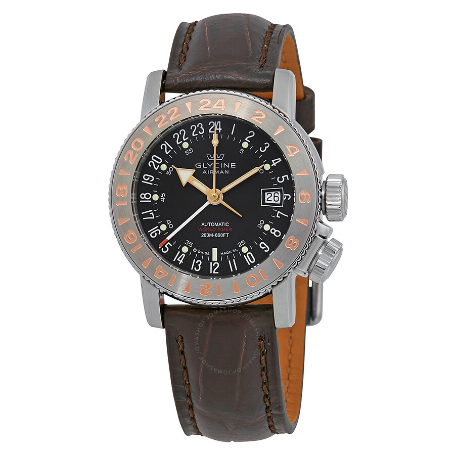 glycine male glycine airman 18 world timer automatic mens watch 3918196lbk7f
