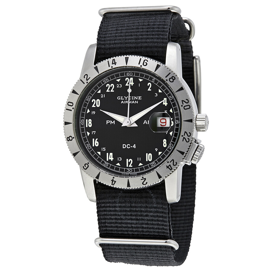 mens watches blue s glycine dial itm men sst automatic watch gmt airman