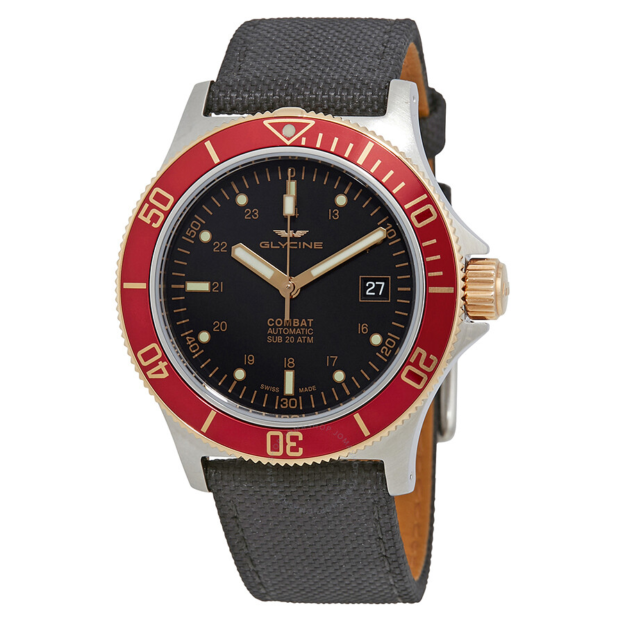 Glycine Combat Sub Automatic Black Dial Mens Watch
