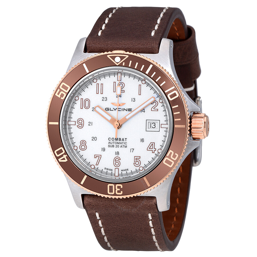 Glycine Combat Sub Automatic White Dial  Mens Watch 3908.34.C6.LB4B7BF