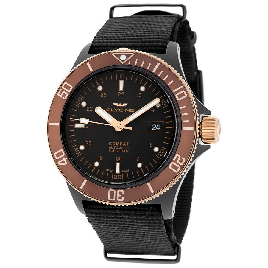 Glycine Combat Sub Automatic Black Dial Mens Watch 3863.399.C6.TB99