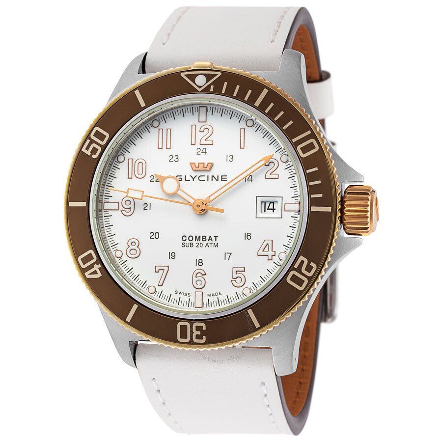 Glycine Sub Automatic Mens White Leather Watch 3863.34.C6.LB4-W