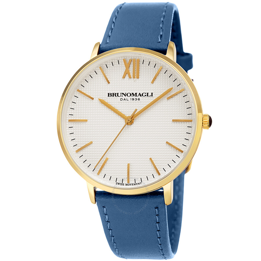 Gold Tone Slim Case with White Checkered Dial on Blue Smooth Italian Leather..