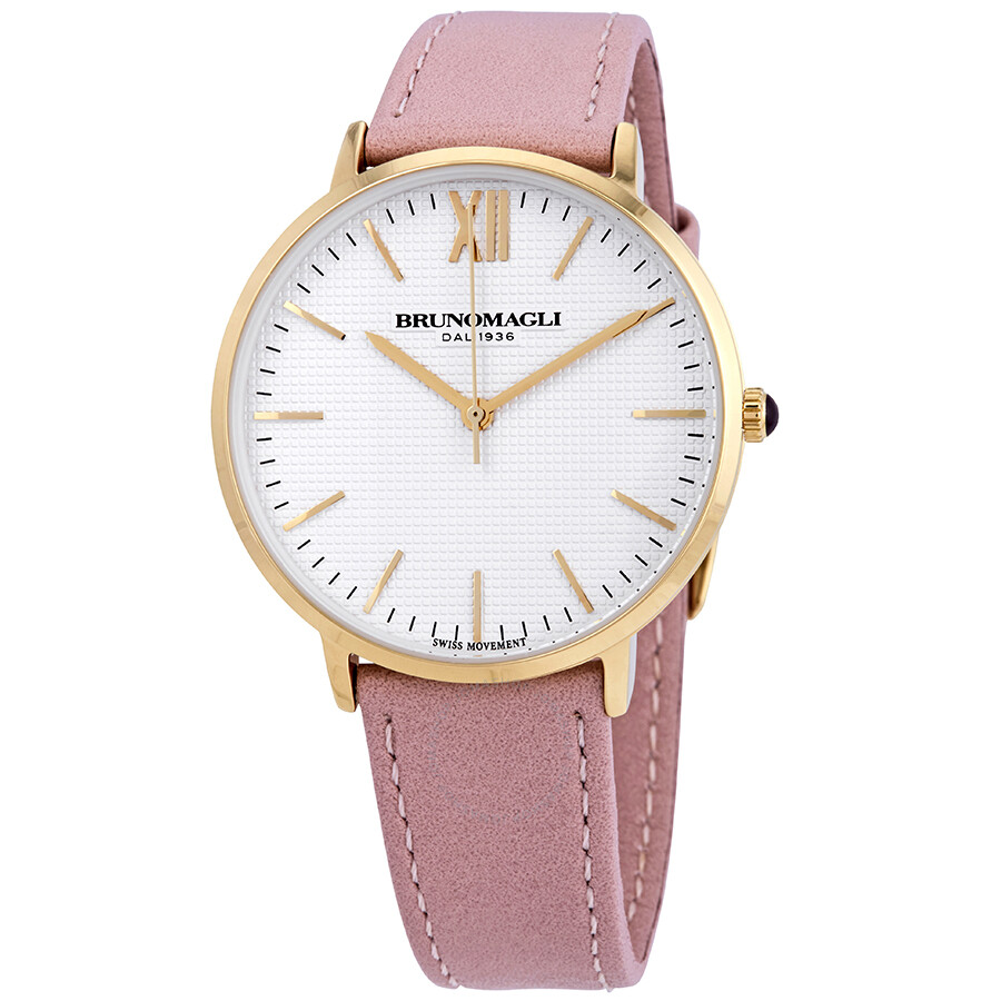 Gold Tone Slim Case with White Checkered Dial on Blush Pink Smooth Italian L..