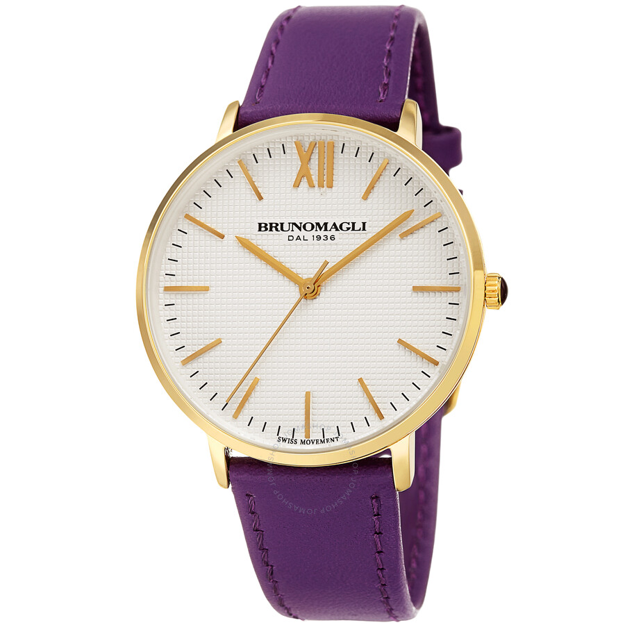 Gold Tone Slim Case with White Checkered Dial on Purple Smooth Italian Leath..