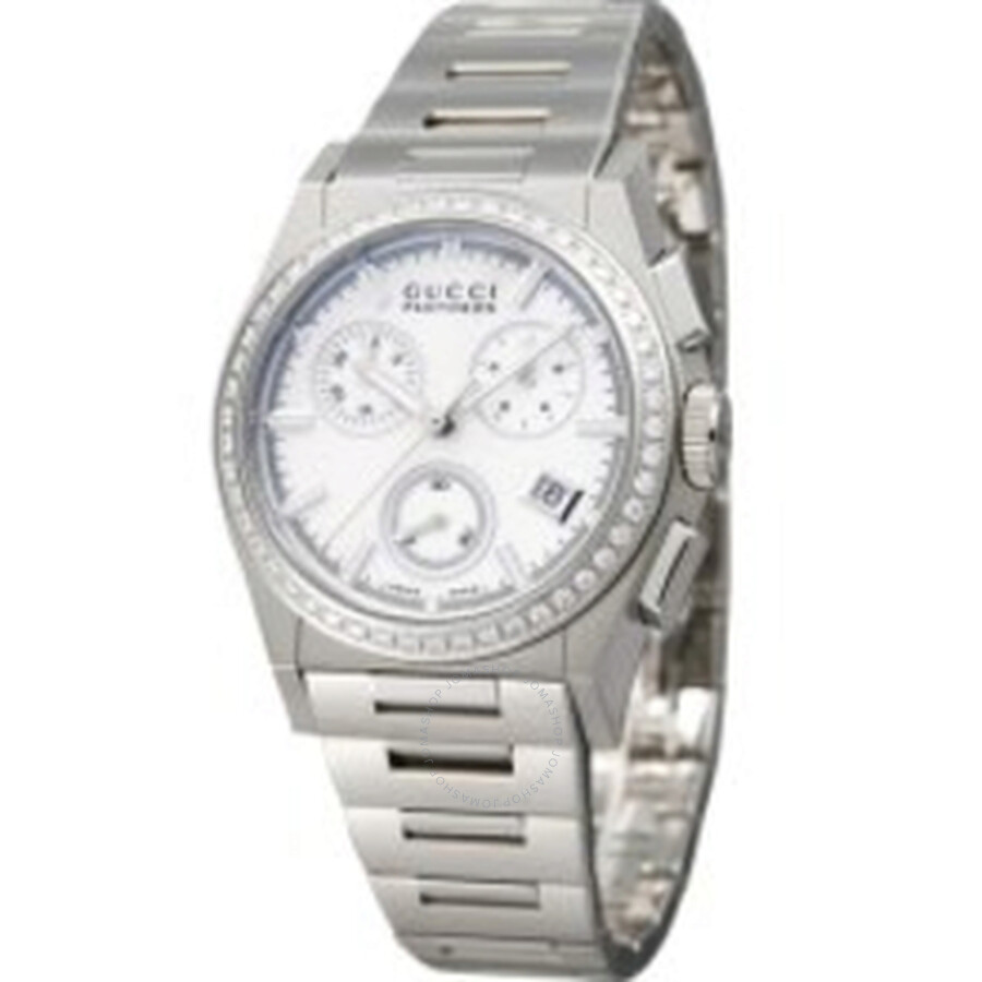 gucci female 264463 gucci 115 pantheon white mother of pearl ladies chronograph watch ya115408