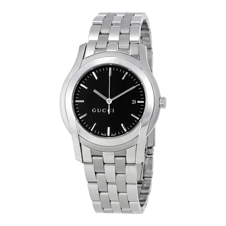 gucci male gucci 5505 stainless steel black mens watch ya055211
