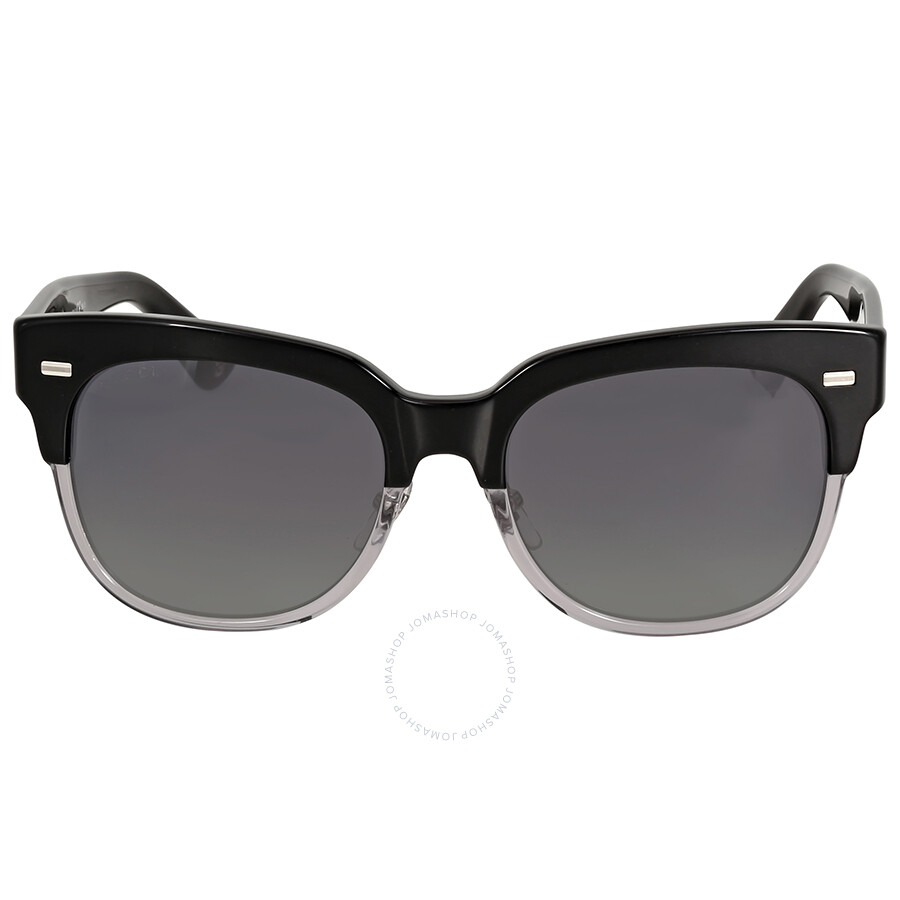 gucci gucci asian fit black and clear sunglasses