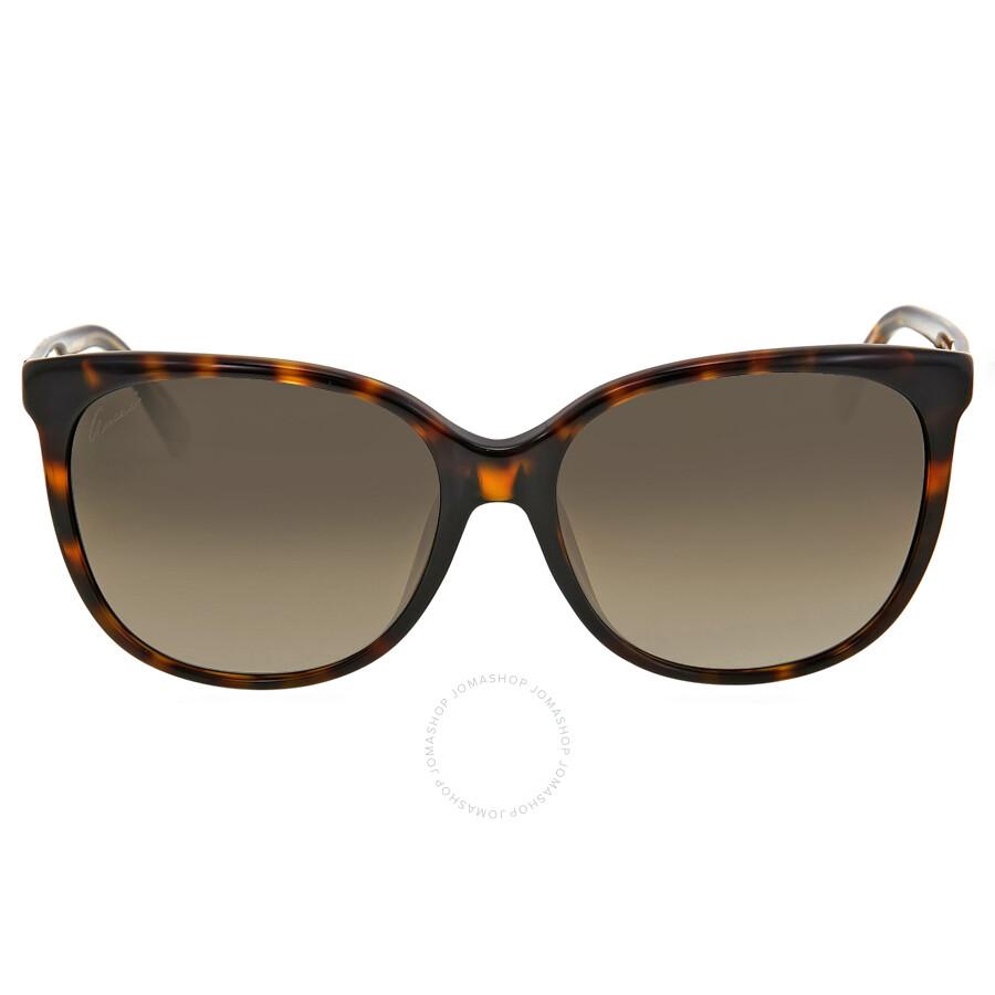 gucci female gucci cat eye asia fit havana ladies sunglasses gg3754fskclha