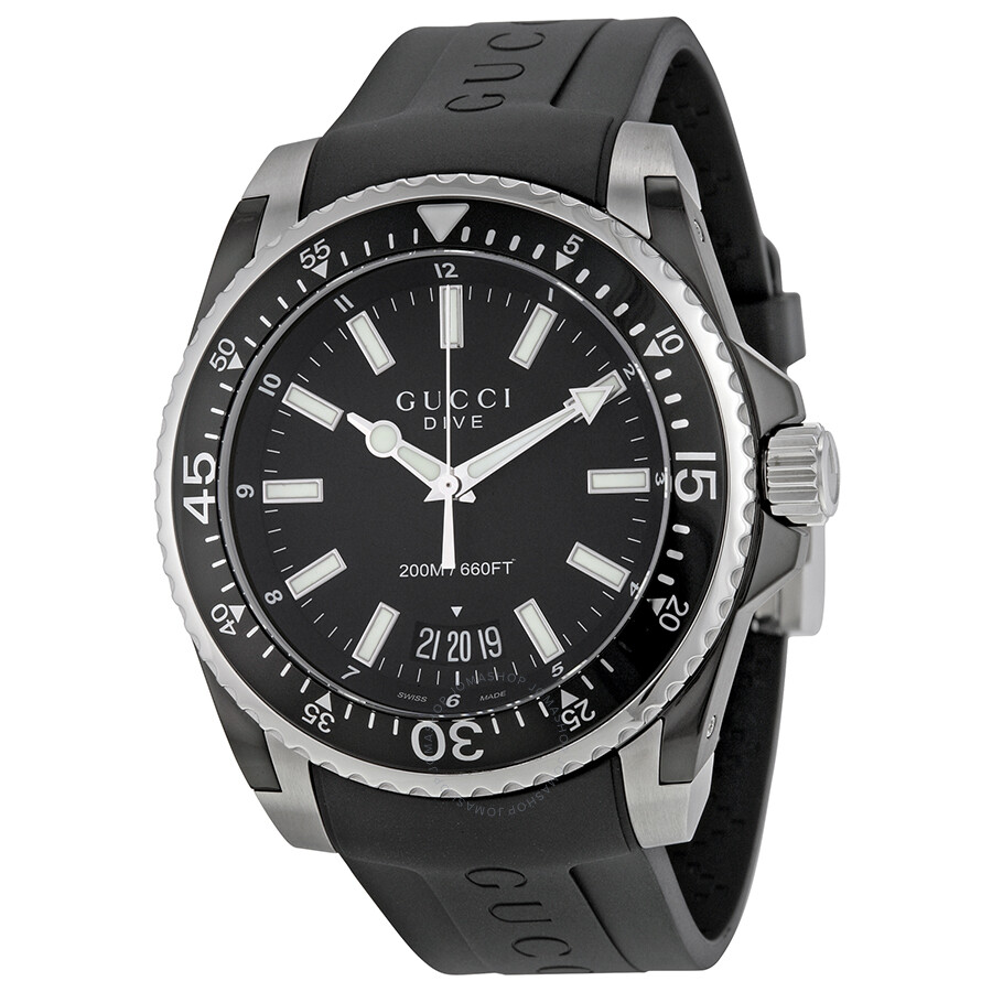 Gucci dive black dial black rubber men 39 s watch ya136204 dive gucci watches jomashop for Rubber watches