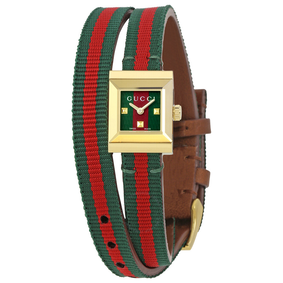 Gucci G-Frame Red and Green Dial Ladies Watch YA128527 - G-Frame ...