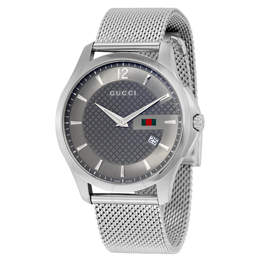 gucci male 260986 gucci g timeless anthracite dial stainless steel mens watch ya126315