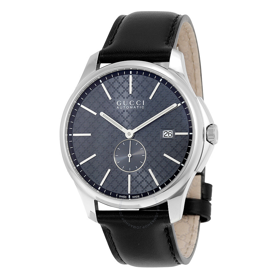 gucci male 188974 gucci gtimeless automatic grey dial black leather mens watch ya126319