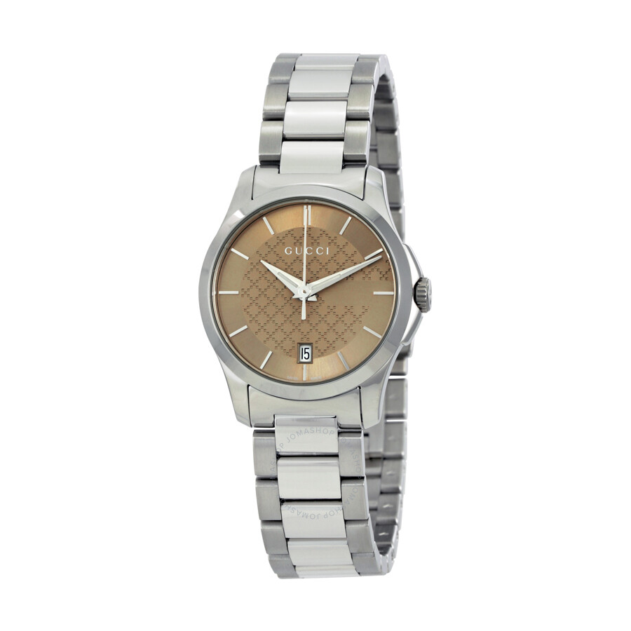 gucci female 261487 gucci gtimeless brown dial stainless steel ladies watch ya126526