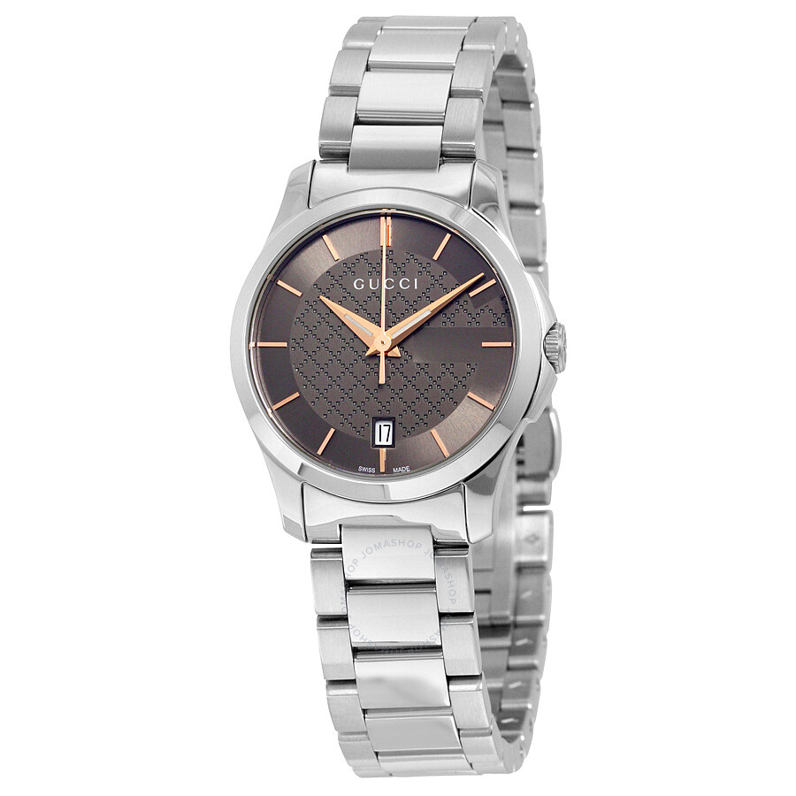 gucci female 261487 gucci gtimeless brown dial stainless steel ladies watch ya126529