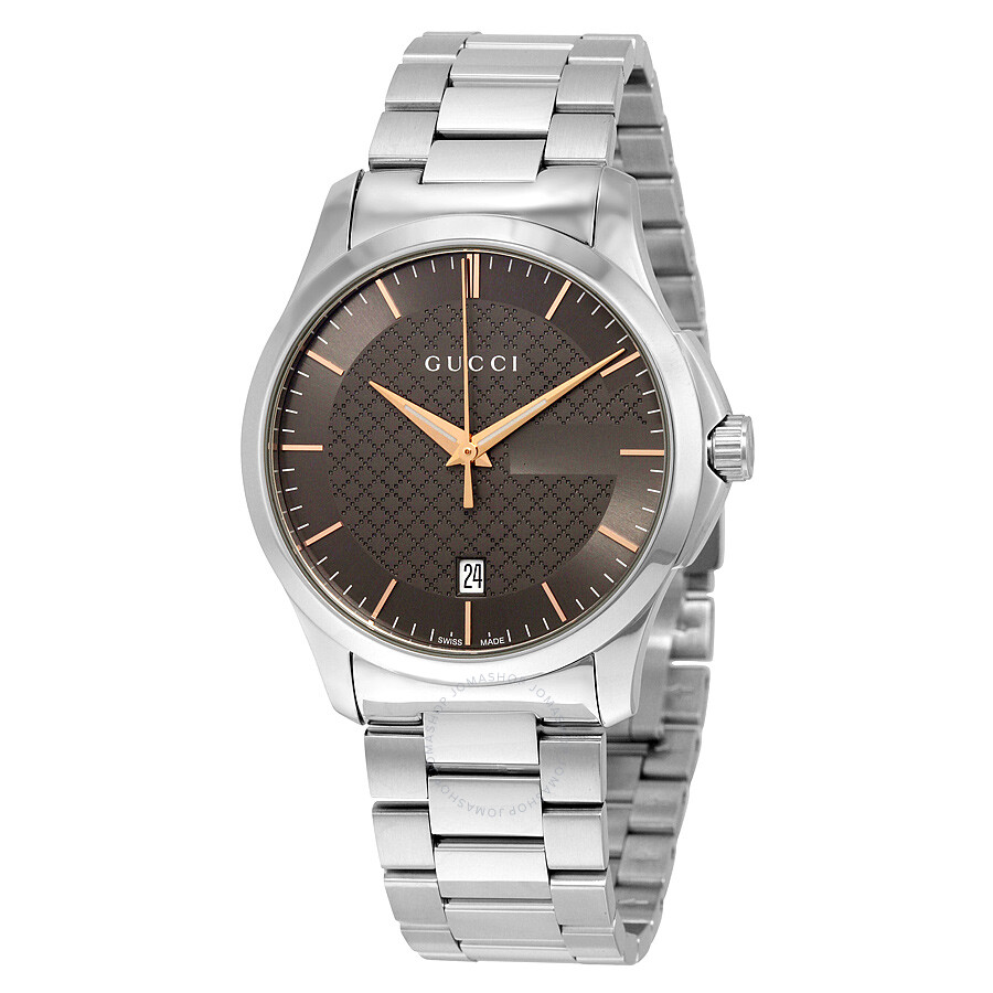 gucci male 261487 gucci gtimeless brown dial stainless steel mens watch ya126448