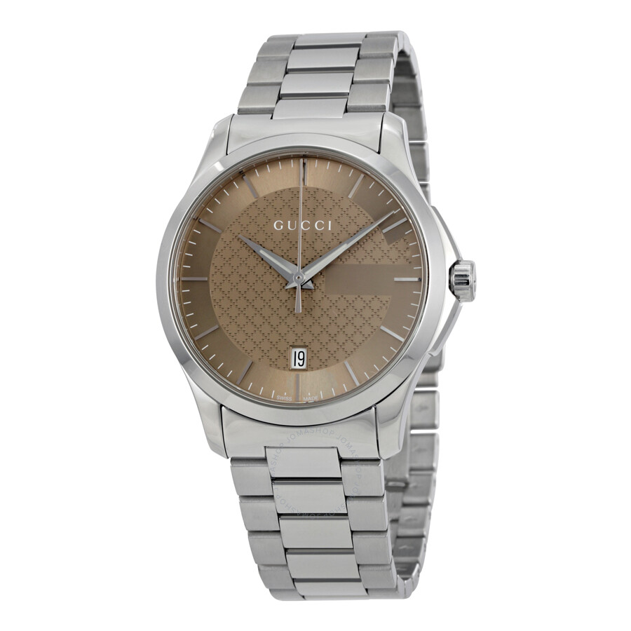 gucci 261487 gucci gtimeless brown dial stainless steel unisex watch ya126445