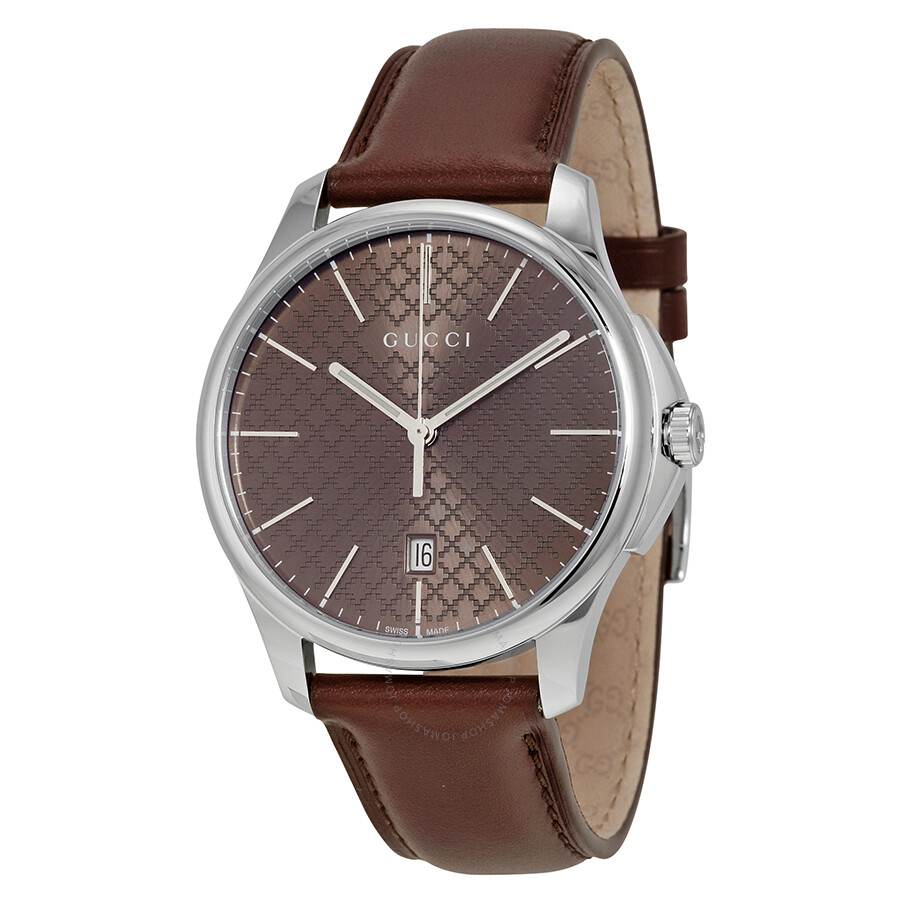 gucci male 211970 gucci gtimeless large brown diamond pattern dial mens watch ya126318