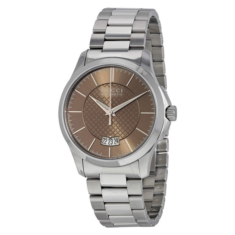 gucci female 313575 gucci gtimeless medium automatic brown diamond pattern dial stainless steel ladies watch