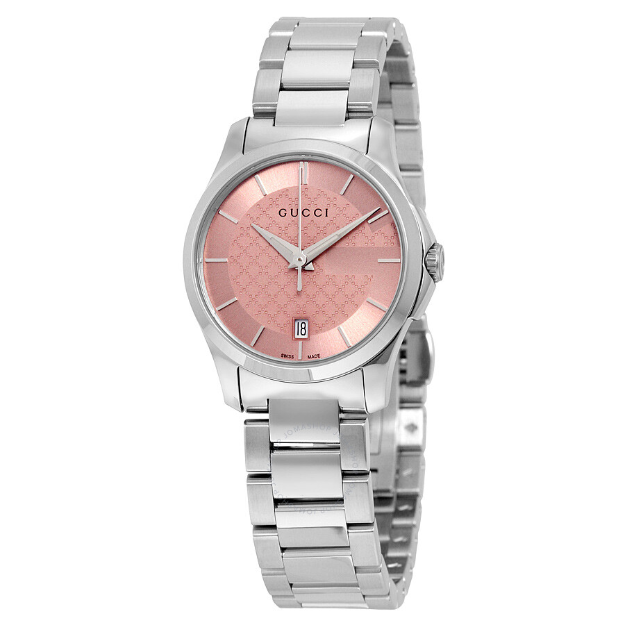 Gucci G-Timeless Pink Dial Stainless Steel Ladies Watch YA126524 - G ...