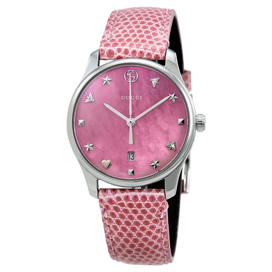 Gucci G-Timeless Pink Mother of Pearl Dial Ladies Watch YA126586 - G ...