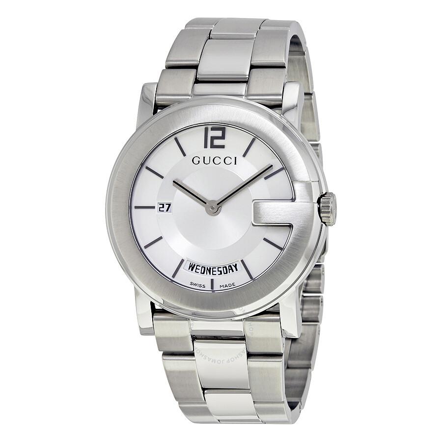 gucci male gucci gwatch 101g silver dial mens watch ya101306