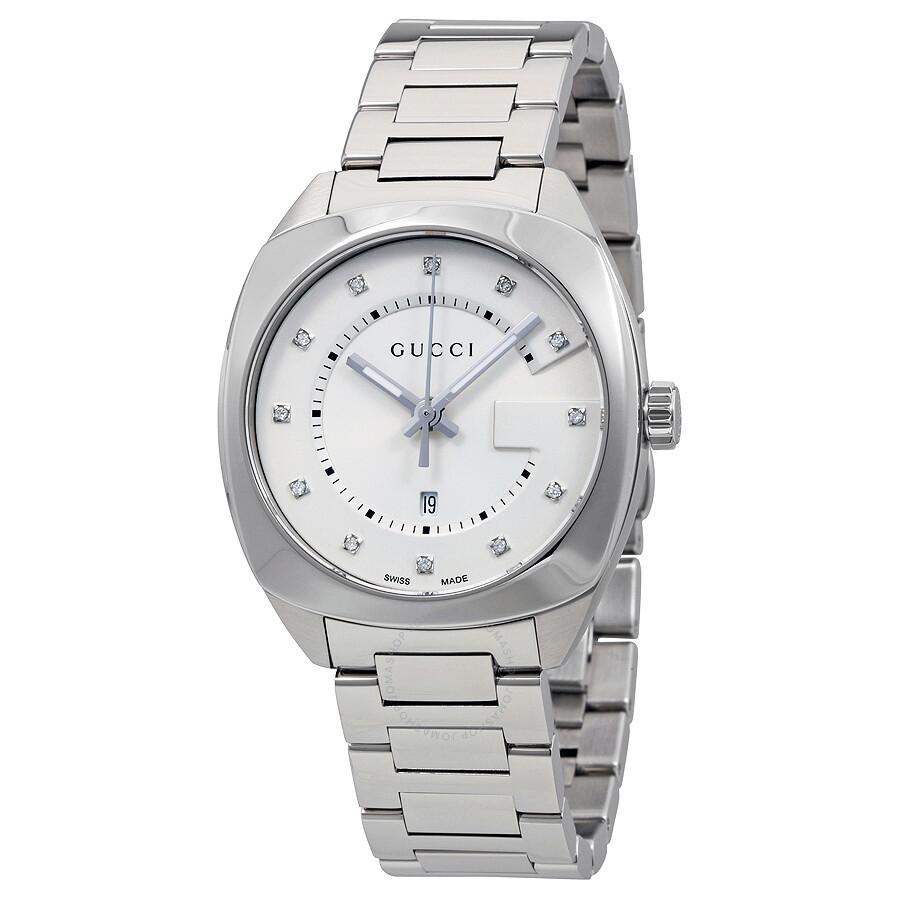 9de1f1ce016 gucci female gucci gg2570 white dial stainless steel diamond ladies watch  ya142403