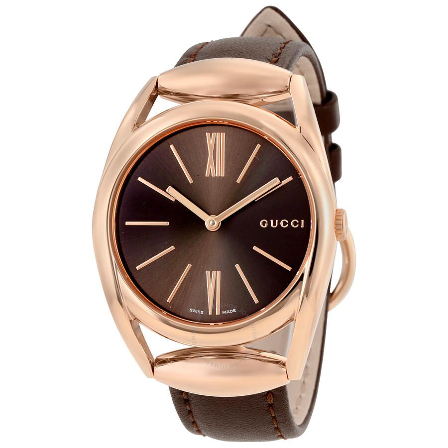 gucci female 211468 gucci horsebit brown dial brown leather ladies watch ya140408